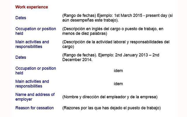 redactar currículum en inglés